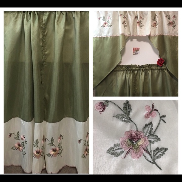 Accents 3 Pc Cafe Curtains Valance Emb Floral Scalloped Poshmark